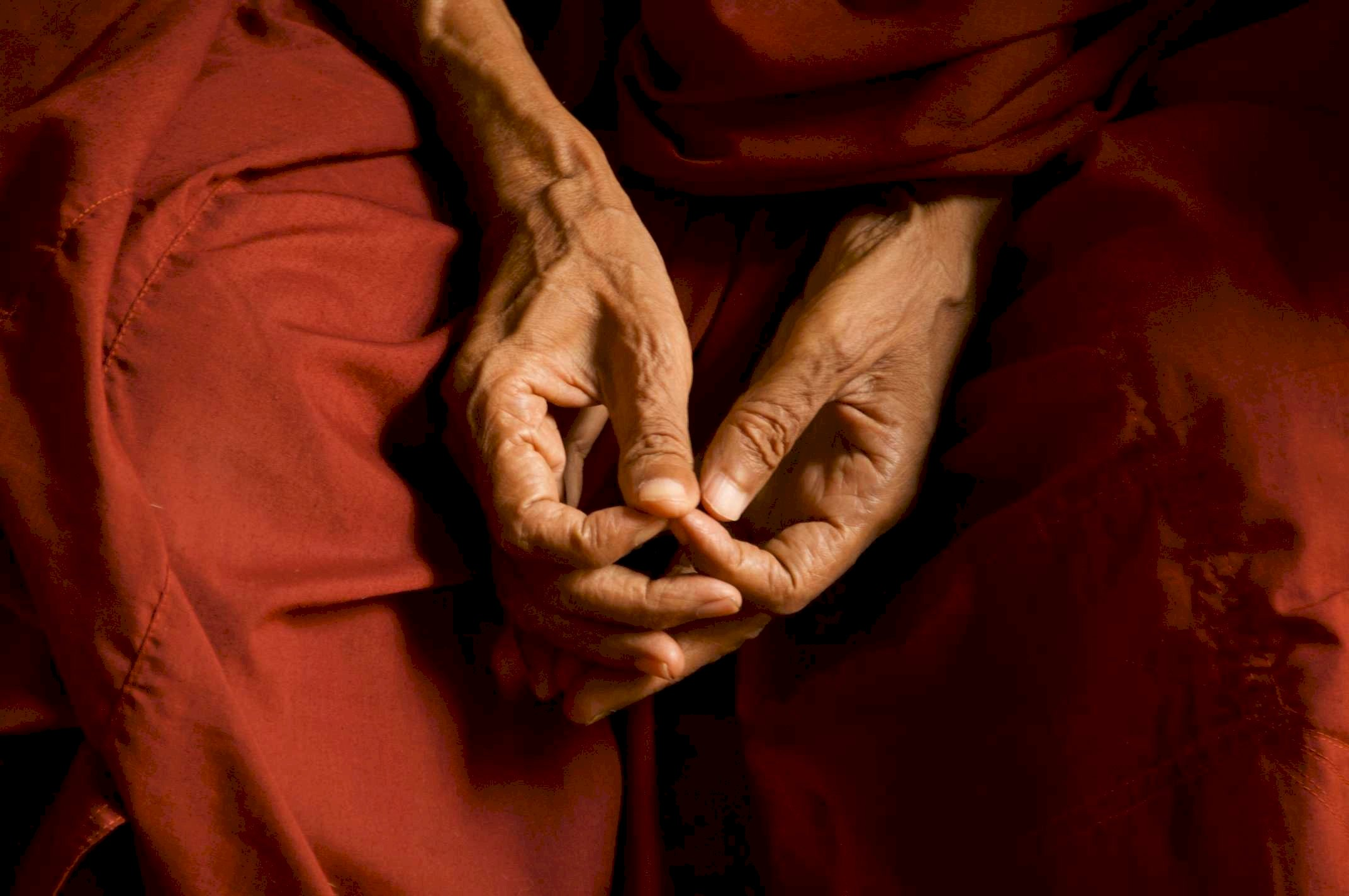 Myanmar, monk's hands